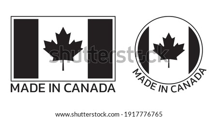 Made in Canada icon or logo with Canadian flag with maple leaf.  Photo stock ©