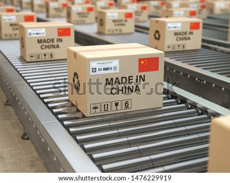 Made in China. Cardboard boxes with text made in China and chinese flag on the roller conveyor. 3d illustration Foto stock ©