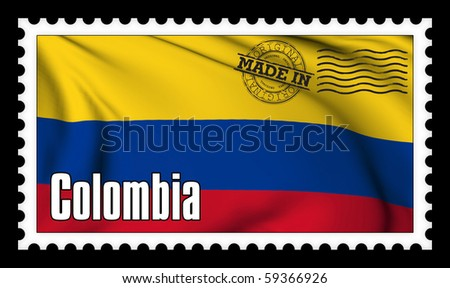 Made in Colombia original stamp