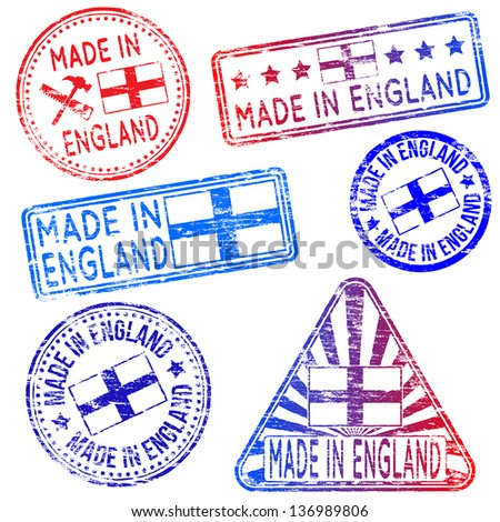 Made in England. Rubber stamp illustrations