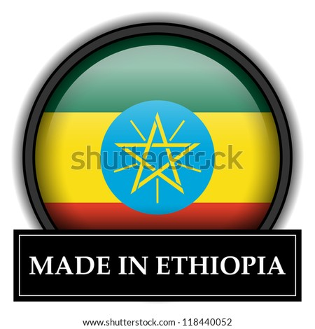 Made in flag button series - Ethiopia - stock photo