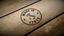 Made in Italy wood engraving. Embossed stamp.