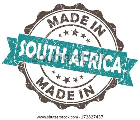 made in South AFRICA blue grunge seal