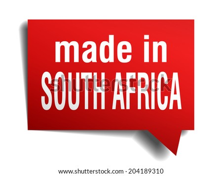 made in south africa red  3d realistic speech bubble isolated on white background