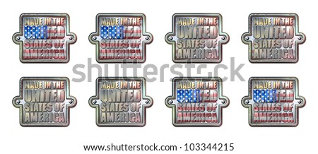 Made in the United States of America Chrome Plaque with clipping path graphic