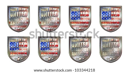 Made in the United States of America Chrome Shield with clipping path graphic