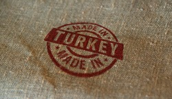 Made in Turkey stamp printed on linen sack. Factory, manufacturing and production country concept.