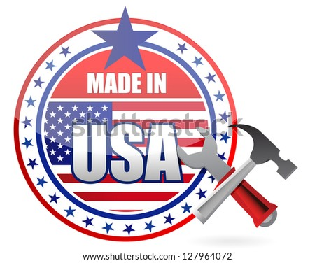 made in usa tools button seal illustration design over a white background
