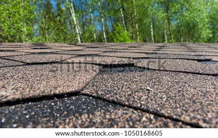 made of bitumen flexible shingles on the roof of a building, built in the woods for relaxation, details of a gazebo closeup against a background of green trees #1050168605