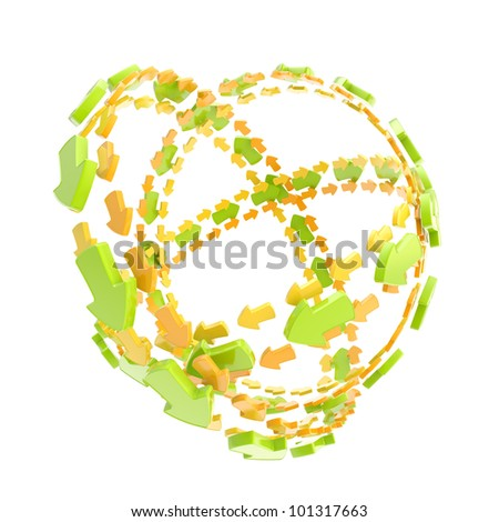 Made of glossy arrow orbit route empty sphere isolated on white