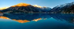 Made this Panoramic Shot of the Big Almaty Lake in Kazakhstan.