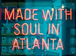 Made with soul in Atlanta street red light neon closeup