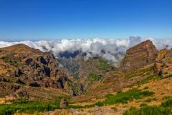 Madeira island mountain peak view, Portugal, mountaintop of Pico do Arieiro