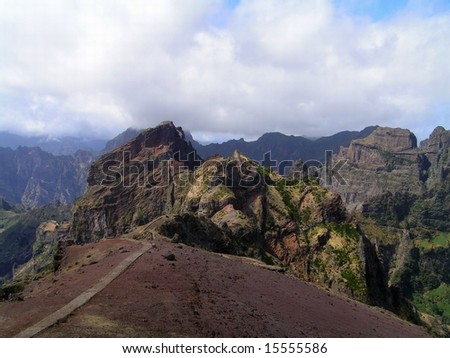 Madeira island mountains. The route to the highest peaks.