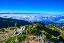 Madeira Island - View Point of mountain scenery of the highland - tabove the clouds - ravel destination for hiking and outdoor sports - Portugal
