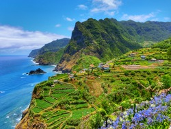 Madeira scenic mountain and ocean view