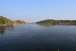 Madhya Pradesh, India - Lake with Blue Sky without clouds