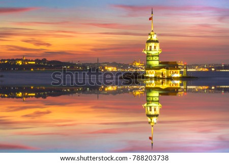 Madien's Tower landscape beautiful sunset with clouds reflections Turkey. With sunset is best touristic destination of Istanbul.