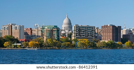 Madison. Image of city of Madison, capitol city of Wisconsin, USA.