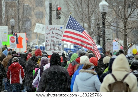 MADISON, WI - FEB 26:Protesters in Wisconsin during a rally against Governor Scott Walker's budget bill on Feb 26, 2011. Walker has won the recall election, but he still faces a new election next year