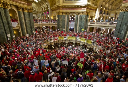 MADISON, WI - FEBRUARY 18: Jesse Jackson speaks to thousands of union protesters opposing Governor Scott Walker's new budget bill at the Wisconsin Capitol on February 18, 2011 in Madison, Wisconsin.