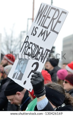 MADISON, WI - MAR 3: Protester in Wisconsin during a rally against Governor Scott Walker's budget bill on Mar 3, 2011. Walker has won the recall election, but he still faces a new election next year