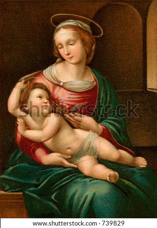 Madona and Christ child - an early 1900's vintage greeting card illustration - reproduced from an old classic.