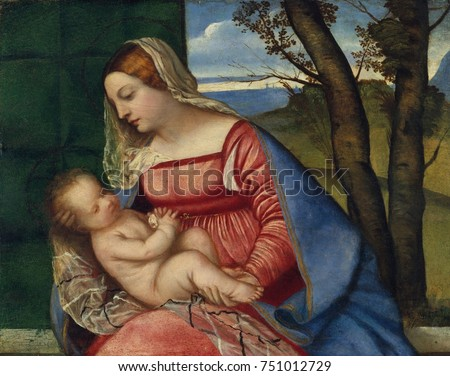 MADONNA AND CHILD, by Titian, 1508, Italian Renaissance painting, oil on canvas. The Madonnas natural posture suggests a tender rapport between the mother and child