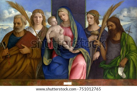 MADONNA AND CHILD SAINTS, by Giovanni Bellini, 1460-1516, Italian Renaissance oil & tempera painting. St. Peter, St. John the Baptist, and two angles flank Mary and Jesus. Bellini painted with luminou