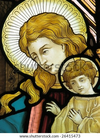 Madonna and Child, stained glass