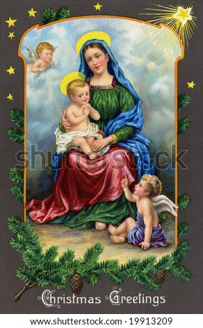 Madonna and Christ Child on a starry night - a Victorian Christmas card illustration - stock photo