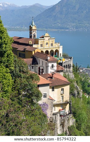 Madonna del Sasso, medieval monastery on the rock overlook lake Maggiore, Switzerland