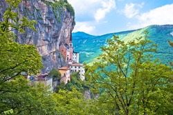 Madonna della Corona church on the rock, sanctuary in Trentino Alto Adige region of Italy