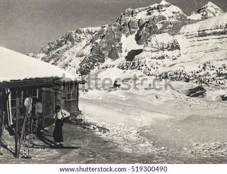 "Madonna di Campiglio, Italy. Alpine farming ""Spinale"" , winter 1937. Scan, private family collection before WWII. #519300490"