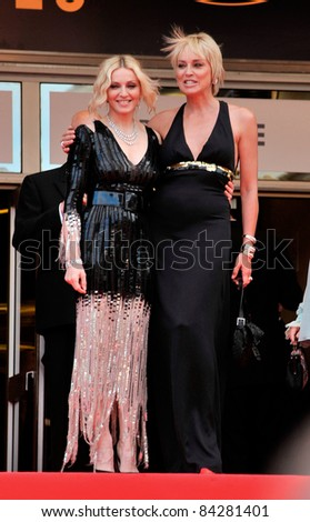 "Madonna (left) & Sharon Stone at the premiere of ""Che"" at the 61st Annual International Film Festival de Cannes. May 21, 2008  Cannes, France. Picture: Paul Smith / Featureflash"