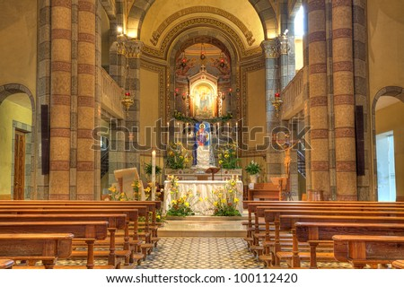 Madonna Moretta Catholic church interior view in Alba, Northern Italy.