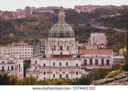 Madre del Buon Consiglio (or Basilica dell'Incoronata Madre del Buon Consiglio) and panoramic scenic view of Naples, Campania, Italy Foto stock ©