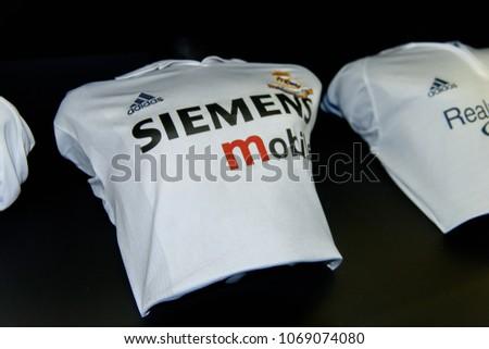 MADRID - APRIL 14, 2018: Real Madrid retro shirt Siemens, Museum of the Santiago Bernabeu Stadium #1069074080
