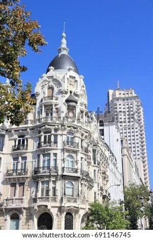 Madrid art nouveau architecture - Casa Gallardo at Arguelles district. #691146745