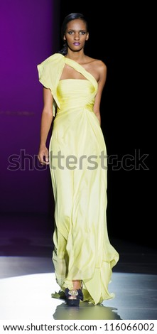 MADRID - AUGUST 31: A model walks on the Hannibal Laguna catwalk during the Cibeles Madrid Fashion Week runway on August 31, 2012 in Madrid.