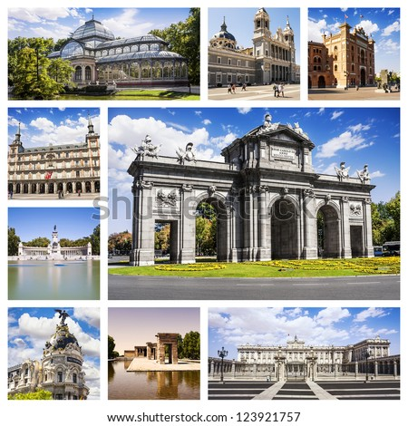 Madrid Collage. Symbols of the capital of Spain. - stock photo