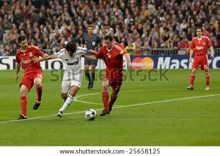 Feb Real Madrid Player Raul Gonzalez Fights Off Liverpool Players