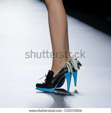 MADRID - FEBRUARY 03: Details of shoes on the Ana Locking catwalk during the Mercedes-Benz Fashion Week Madrid runway on February 03, 2012 in Madrid, Spain.