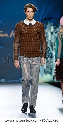 MADRID – FEBRUARY 01: Spanish model Antonio Navas walks on the Francis Montesinos catwalk during the Mercedes-Benz Fashion Week Madrid runway on February 01, 2012 in Madrid, Spain.