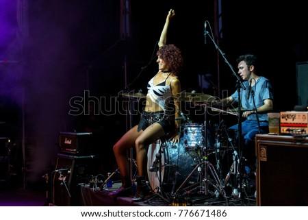Madrid Jun 22 Lizzies Female Hard Rock Music Band Perform In