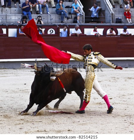 MADRID - JUNE 25: Novilladas in Las Ventas. Novillero: Jesus Fernandez. Bulfighting has been prohibited in Catalunia since 2011 for animal torturing. June 25, 2011 in Madrid (Spain)