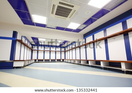MADRID MAR 8 Locker room in Santiago Bernabeu Stadium arena of soccer club Real Madrid Mar 8 2012 Madrid Spain Spanish football club Real Madrid named FIFA best football club in XX century