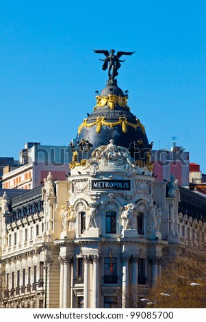 MADRID - MAR 11: Situated on Gran Via and is known Metropolis building a well-known image of the city on March 11, 2012 in Madrid, Spain . In 2011 we celebrated the centenary of the building