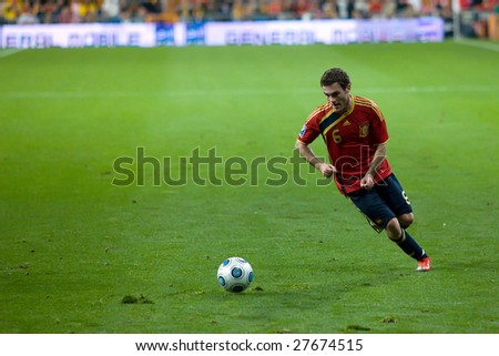 MADRID - MAR 28: Spain's Juan Manuel Mata crosses the ball during the second half of their 1-0 victory over Turkey in their World Cup Qualifier March 28, 2009 in Madrid, Spain.