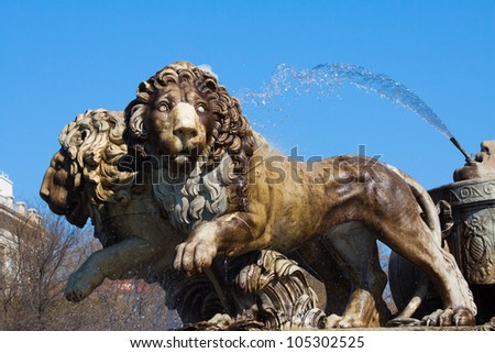 MADRID - MAY 1: Lions of the Fountain of Cibeles on May 1, 2012 in Madrid, Spain. Conducted by the architect Ventura Rodr�­guez in 1782. One of the most recognizable symbols of the city